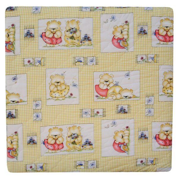 Laufgittermatratze 100x100 cm Teddy gelb