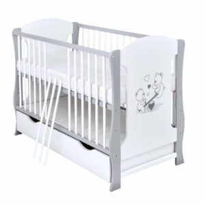 Babybett Lia grau weiß 60x120 cm