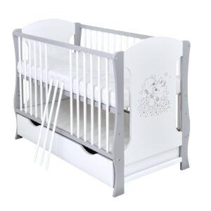 Babybett Noah grau weiß 60x120 cm